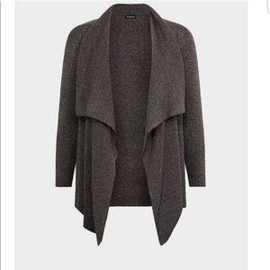 Torrid Grey Ribbed Shawl Drape Front